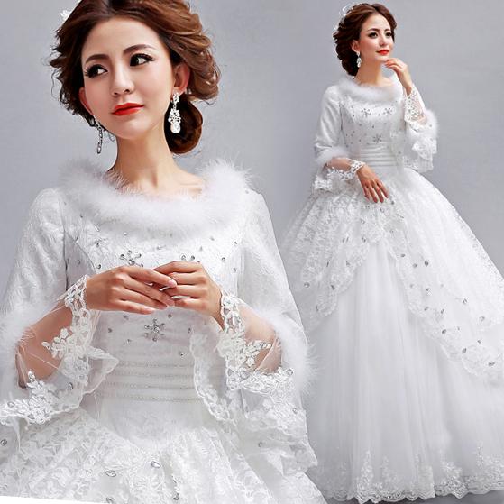 韩版蕾丝一字肩长袖公主新娘冬季冬天冬款棉婚纱礼服最新款2013