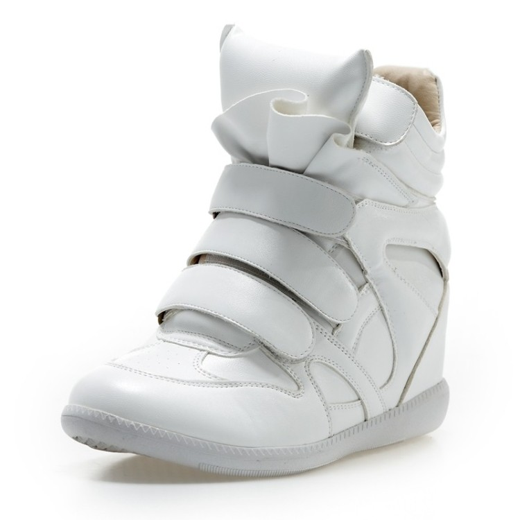 White minimalist shoes high shoes 2013 new Korean version of the influx of the increased Velcro shoes sneakers shoes