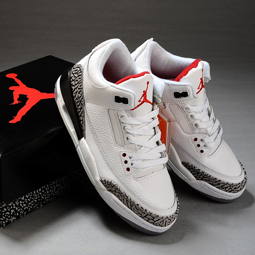 陈冠希男女款nike air jordan 3乔丹3代 白黑爆裂泥黑水泥篮球鞋图片