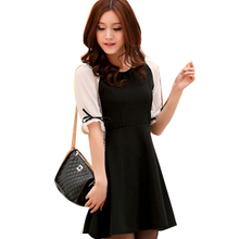 [Grab] Korean version of bovine products was thin dress large size women's short-sleeved black and white wild chiffon skirt Puff