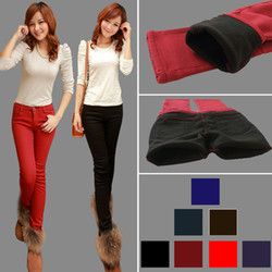 Large size stretch boots, pants thickening in colored pencil pants jeans