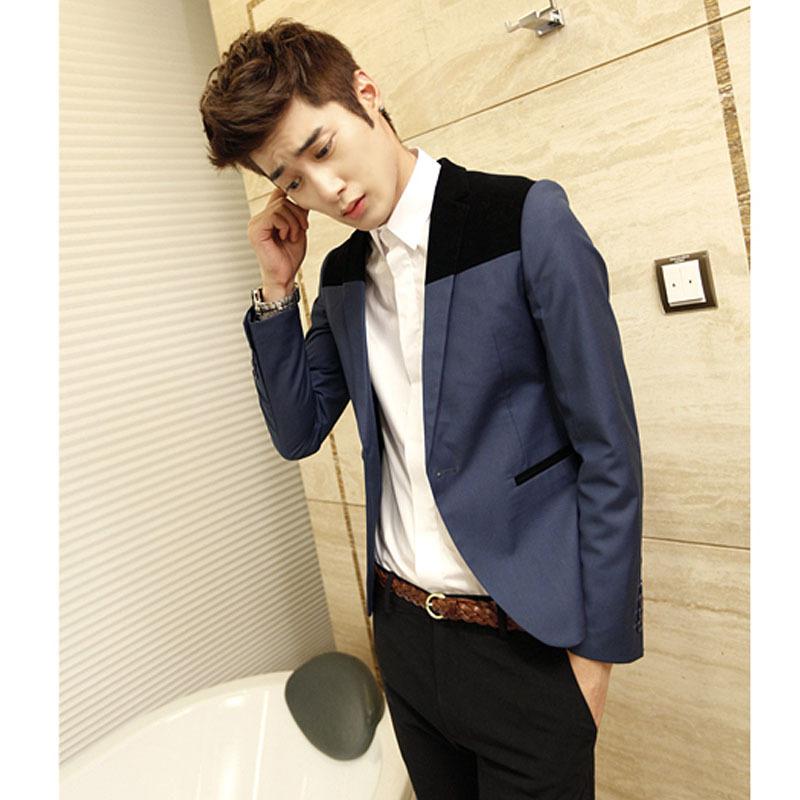 金丝绒西装PU搭配春装新款韩版男士修身小西