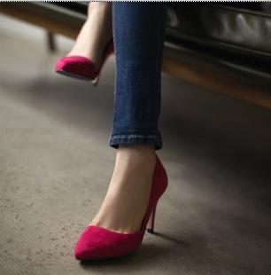 2013新款高跟鞋尖头单鞋女OL细跟低帮浅口婚鞋女鞋