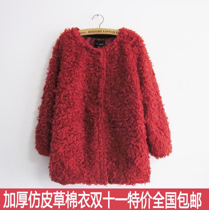 2013冬装 新款韩版加棉加厚中长款毛绒外套 圈圈毛羊羔毛女装棉衣
