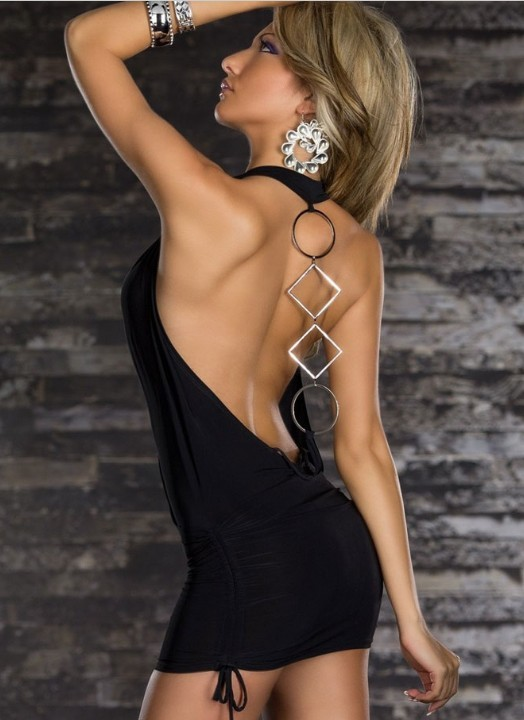 Женское платье black deep v neck backless dress