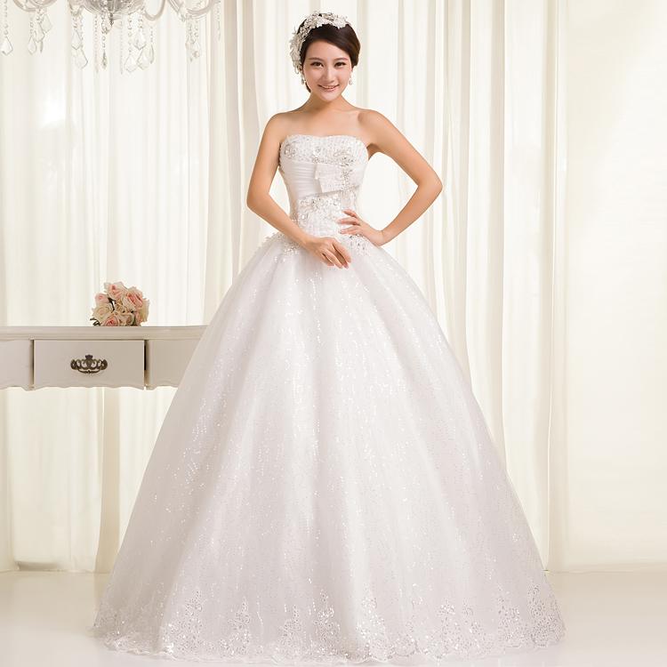 伲迪2013新款复古时尚新娘婚纱 抹胸绑带显瘦服 韩版齐地蓬蓬裙
