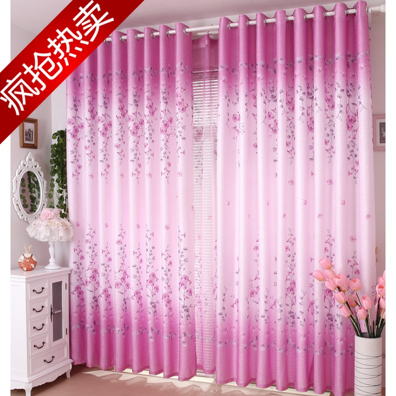Special 72 yuan, 1 sets of 4*2.7 [spring] look half light shading curtain pastoral finished bedroom clearance