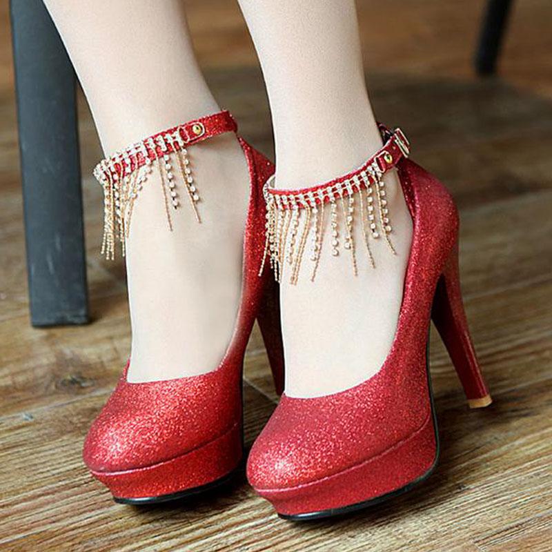 春秋甜美新款圆头女式单鞋水钻红色高跟婚鞋新娘鞋流苏防水女鞋