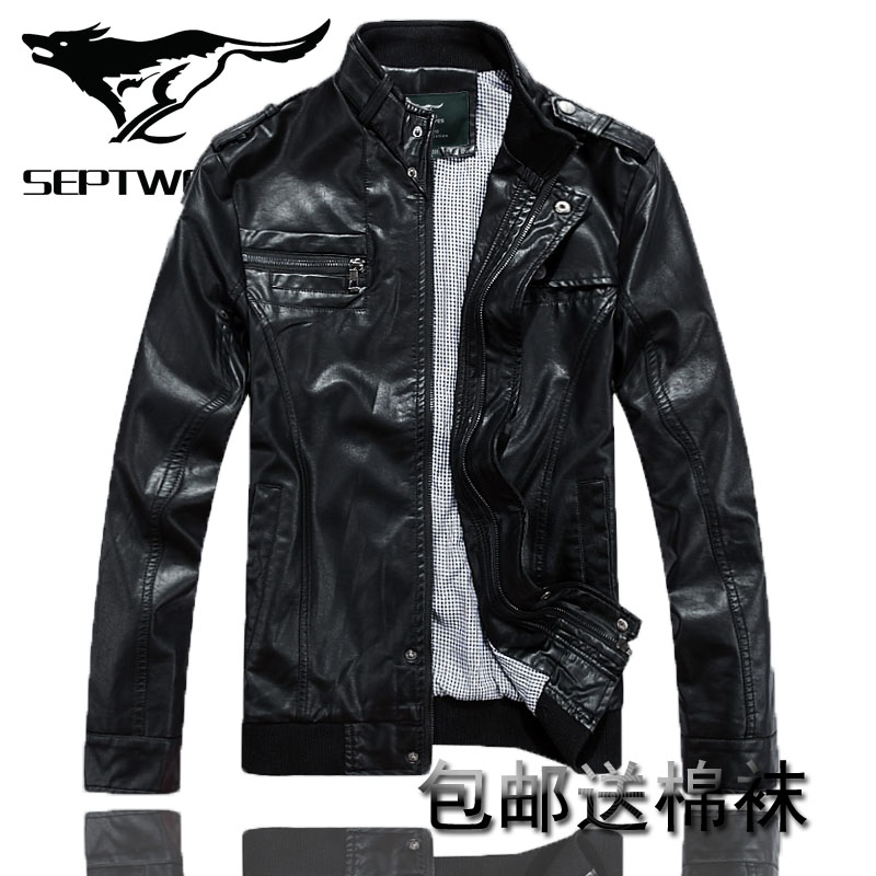 Septwolves septwolves leather men's genuine leather men's leather coat thin Korean male short-season specials