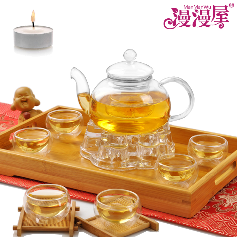 Long glass filter Kung Fu tea pot of tea house and set of tea set special nine zone. (Color classification:1 pot +6 cup + base + tea tray tea wax)