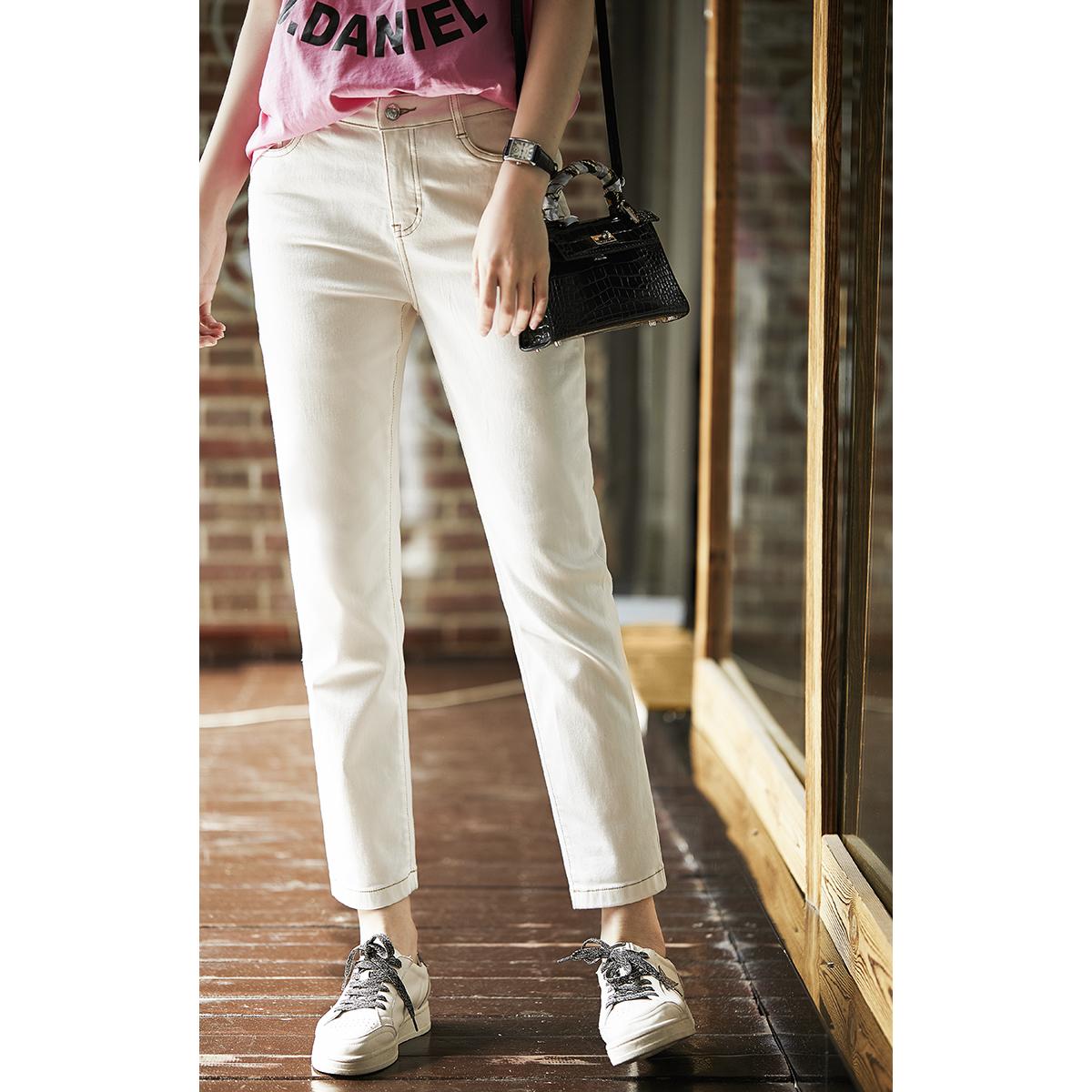 [KZ192835AG] 笑涵阁 力荐此裤!好显瘦!莱赛尔弹力白色牛仔裤