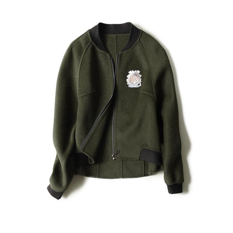 の[E466221] 笑涵阁 时尚减龄显品位 棒球型双面羊毛大衣 17春