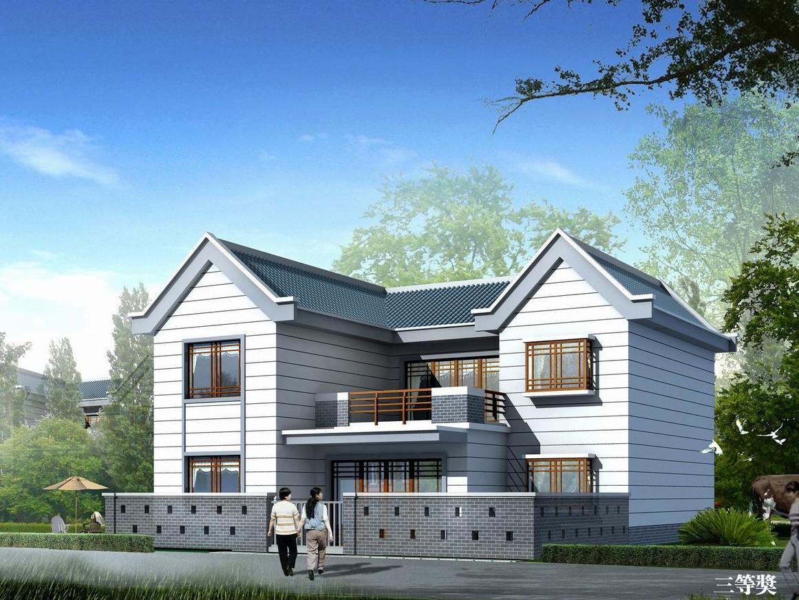 民房设计图二层农村简单房屋设计图 简约房子设计 楼房施工效果图图片