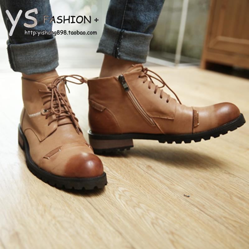 2013秋冬男鞋韩版马丁靴高帮保暖打蜡个性做旧皮鞋男士英伦男款鞋