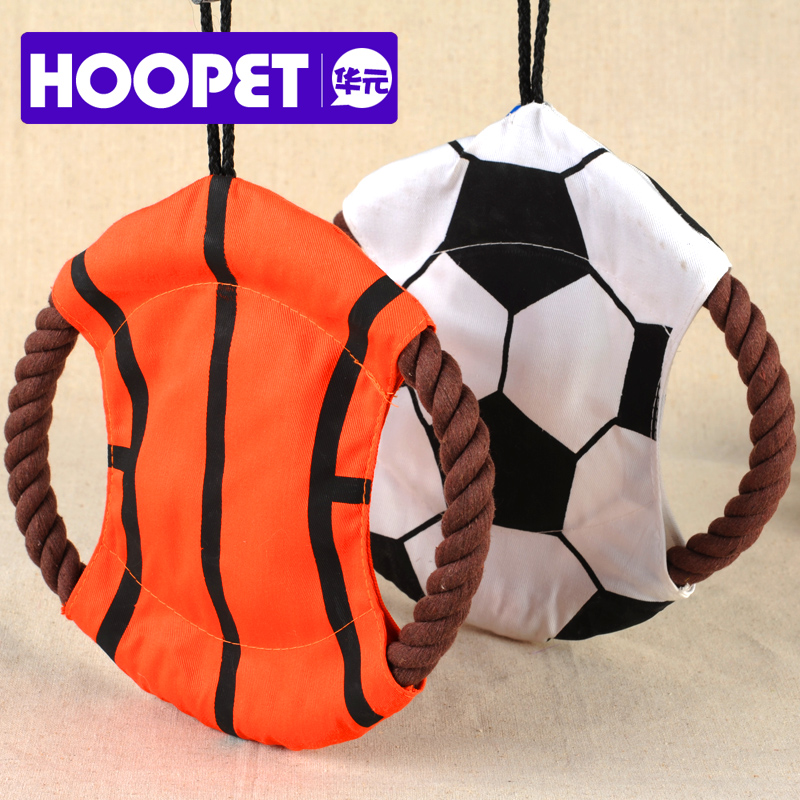 Pet flying saucer dog Frisbee toy with sound bite resistance of cotton rope dog toy strong molars interactive training b