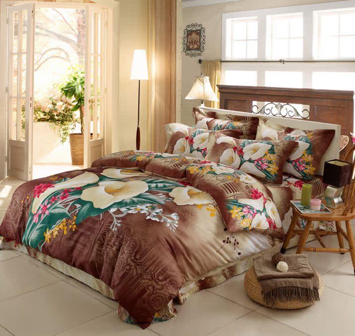 家纺婚庆床上用品纯棉斜纹印花四件套全棉公主风床单被套特价包邮