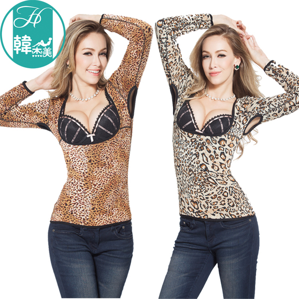 Free shipping autumn and breast care Body sculpting thermal underwear U leopard collar long-sleeved T-shirt plus thick velvet backing female