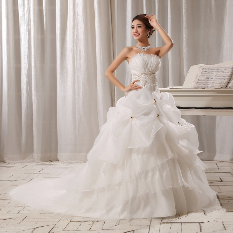 wedding dress new 2013 spring sweet retro straps bra wedding korean princess tail wedding dress