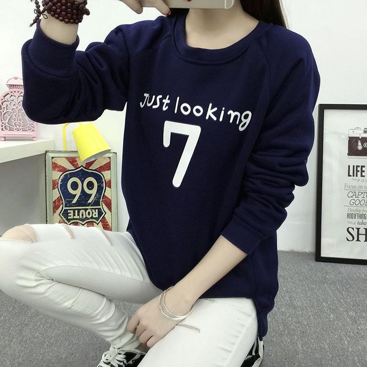 秋冬季女韩版学生少女长袖印花套头大码宽松连帽卫衣外套加绒加厚