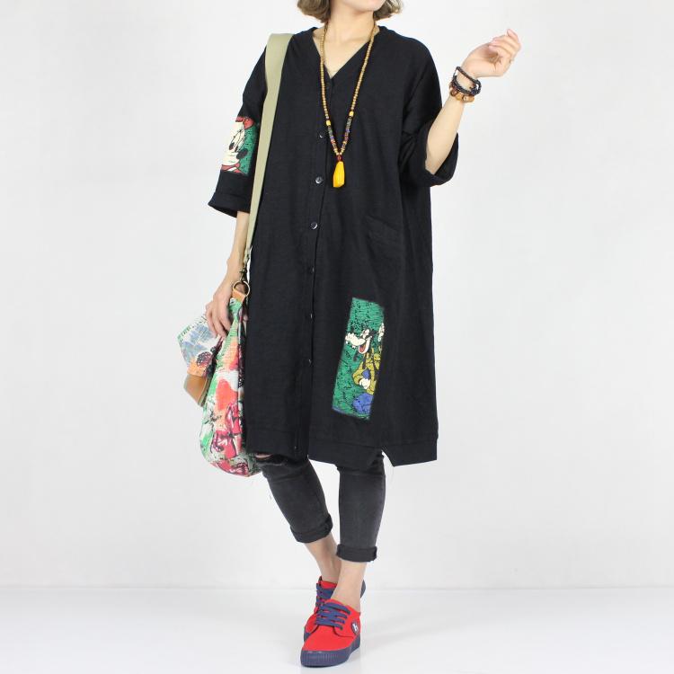 ysbs原创春夏款大码女装迪士尼卡通印花五分袖纯棉长款开衫女