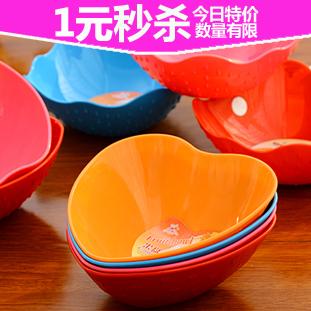 7229 四金冠 绚丽糖果色心形苹果造型果盘 仿瓷碗餐具图片