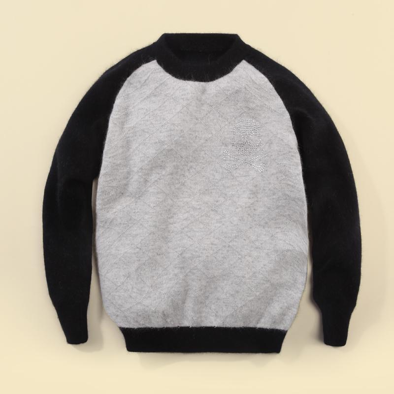 2013 秋冬新款手工编织男儿童羊绒衫 拼接黑灰 韩版羊绒针织毛衣图片