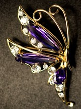 Specials South Korea imported fashion elegant purple zircon rhinestone alloy brooch
