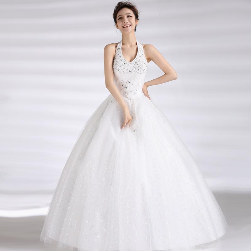 婚纱礼服2013最新款 韩式公主挂脖吊带V领婚纱 韩版镶钻齐地婚纱