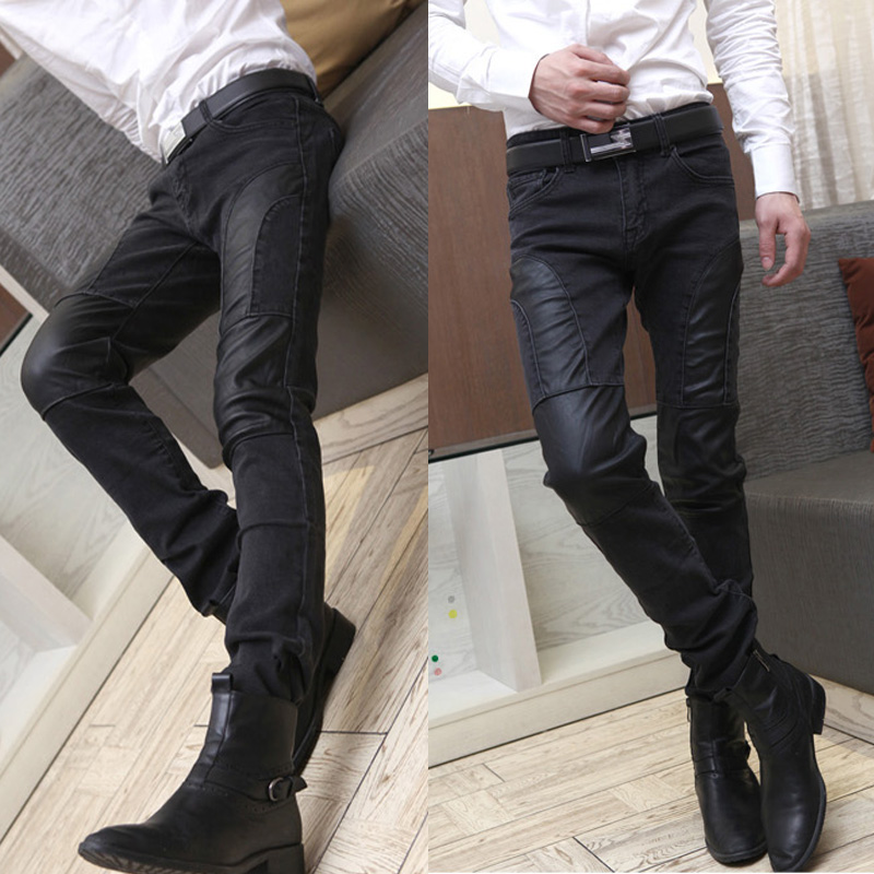 Denim stitching pants for casual foot tide men's skinny pants, men's pants, Korean slim surge