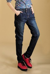 Loose big size thick slim Korean style trousers boots pants jeans trousers