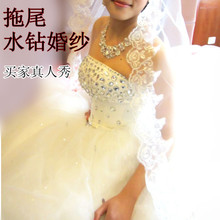 2013 the latest ultra-luxury trailing wedding Crystal straps Bra Korean Princess wedding dress