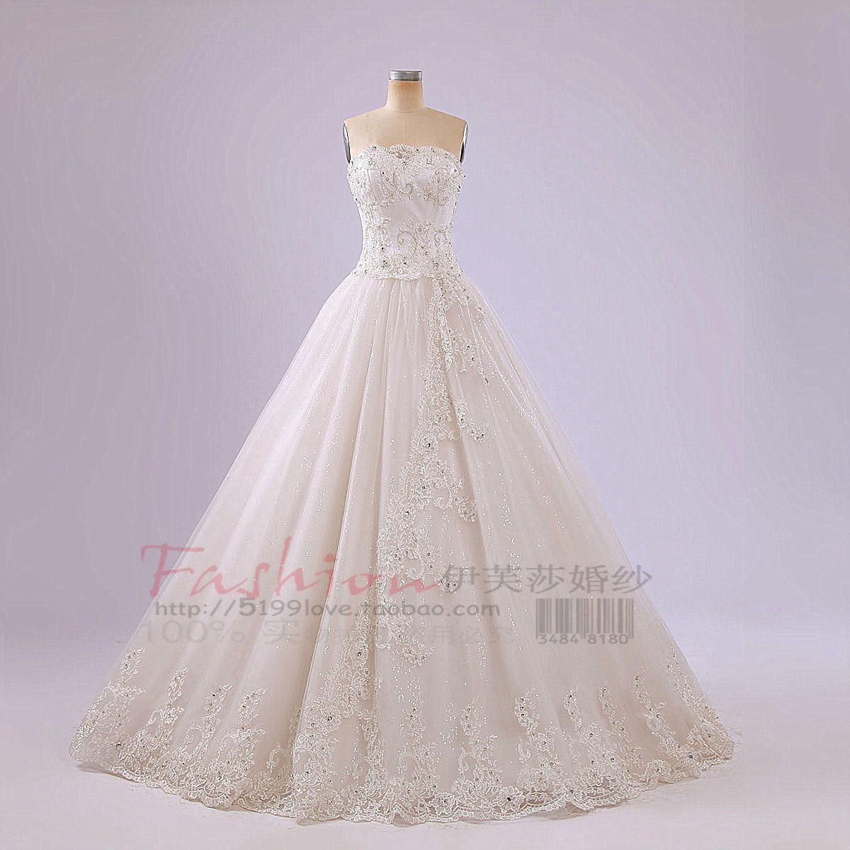 婚纱礼服2013新款优雅银边蕾丝珠绣亮钻韩版公主新娘婚纱莲蓬裙