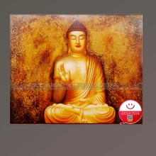 Oil painting decoration of Chinese style hand draw Buddha taught the tathagata Buddha paintings. Contemporary sitting room decoration to ward off bad luck