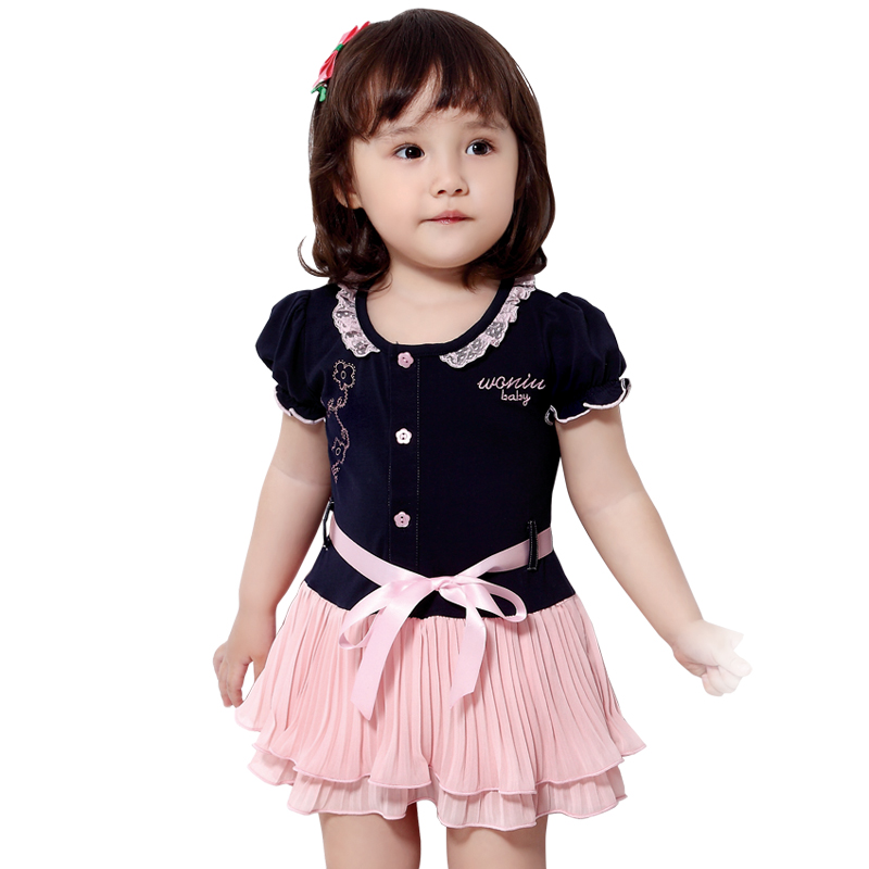 2014 New Girl skirt short sleeve summer colthing babay dress princess for 0-3 years Taobao Agents