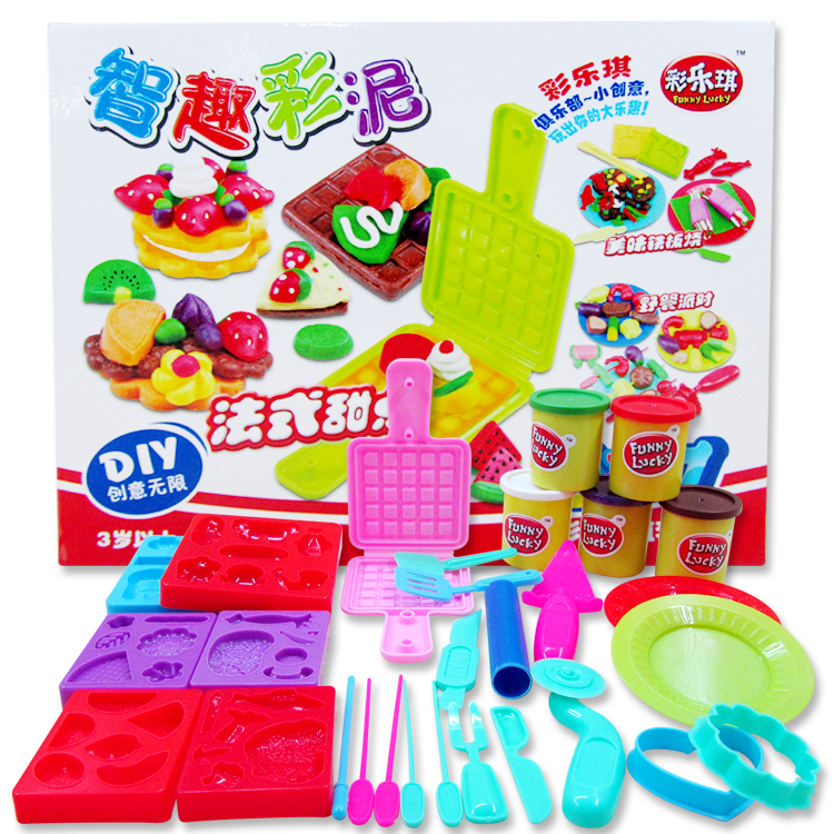 3D color clay creative clay waffle Grill mould Kit child educational toys