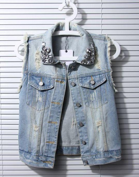 2013 new summer women's European and American Korean Korean fashion denim vest waistcoat vest short coat waistcoat.