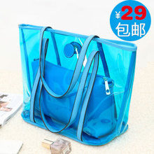Korean version of the new 2013 handbag tide transparent bag the Forest Department jelly candy color women's bag portable diagonal shoulder bag