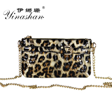 2014 new blasting leopard chain shoulder aslant bag holding little bag female sheep leather bags in Europe and the party
