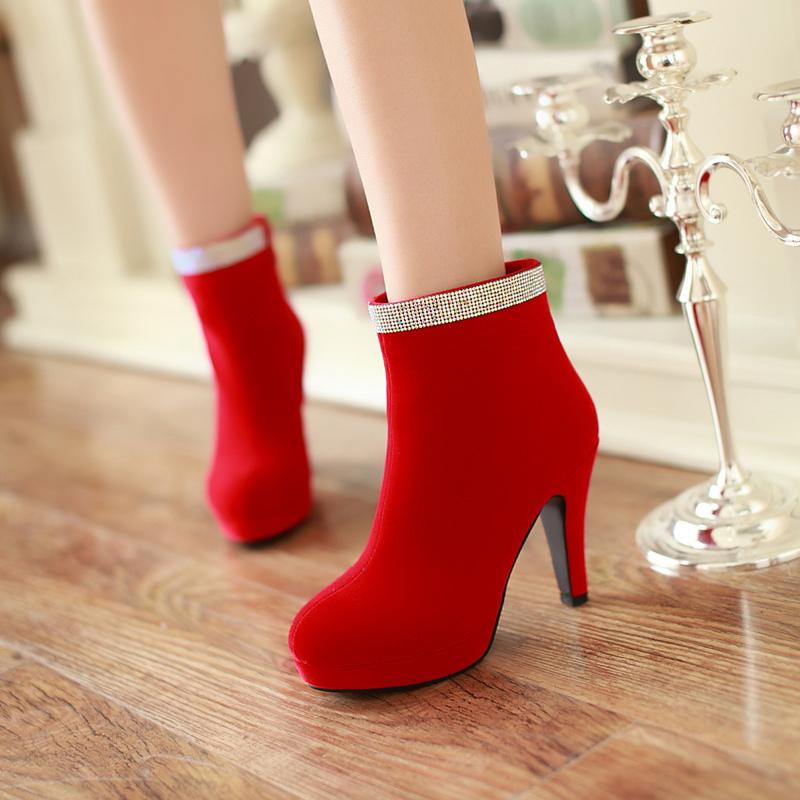 新款红色女超高跟粗跟防水台女鞋40码大码婚鞋伴娘鞋新娘鞋子水钻
