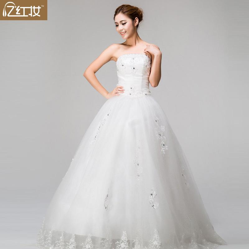 2013夏季新款新娘结婚抹胸女装 中腰花朵忆红妆绑带韩版婚纱礼服
