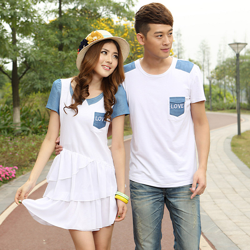 Couples Dressed in White White Summer Dress 2014 Newest