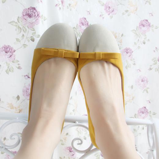 2013韩版蝴蝶结 甜美拼色浅口平跟鞋 单鞋 瓢鞋女鞋平底鞋