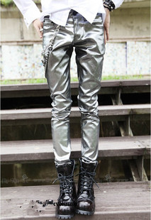 2013 spring new ultra tide male bright pants, mounted the stage costume tights alternative tidal pants