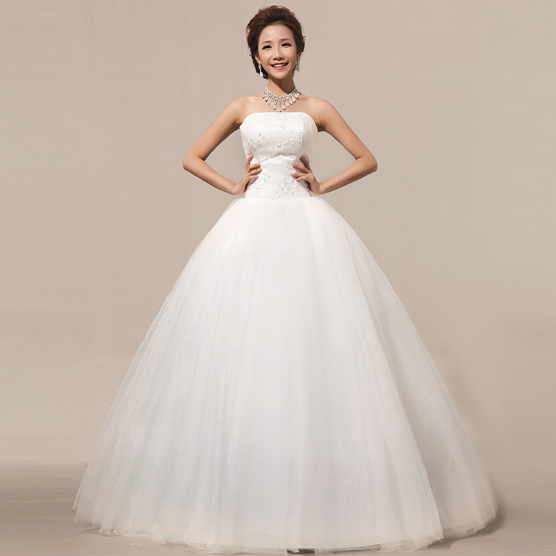 2013新款上新 抹胸蓬蓬裙 结婚季 齐地 绑带新娘蕾丝 婚纱礼服晚装 HS259