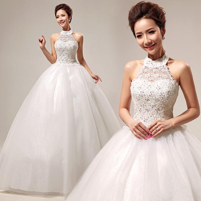 婚纱礼服 2013最新款 韩式甜美蕾丝公主挂脖婚纱 齐地