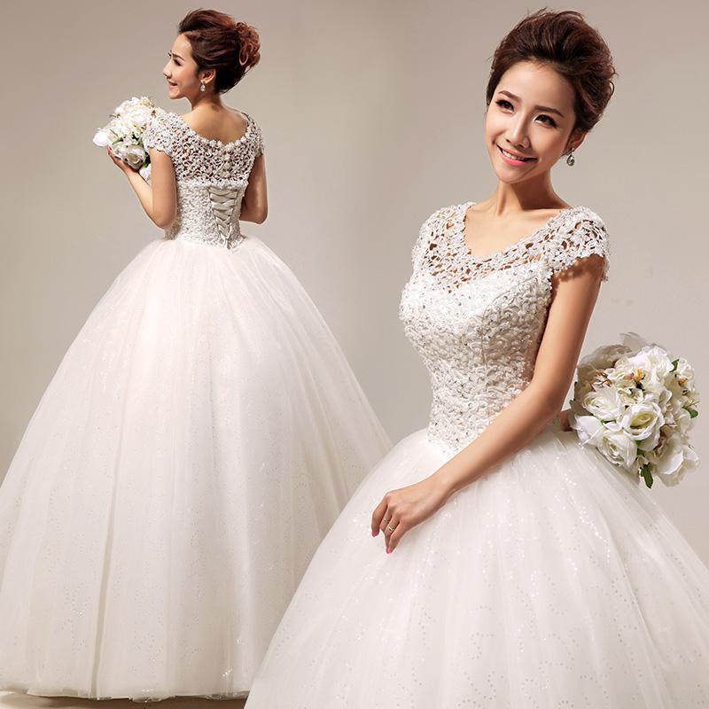 婚纱礼服 最新款2013 韩版一字肩甜美蕾丝公主性感齐地婚纱HS290