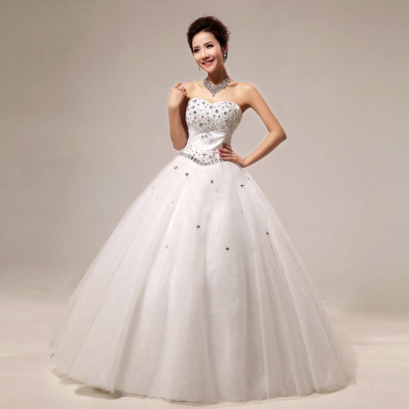 最新款2013 韩版甜美公主婚纱 齐地抹胸时尚简约豪华水钻显瘦婚纱