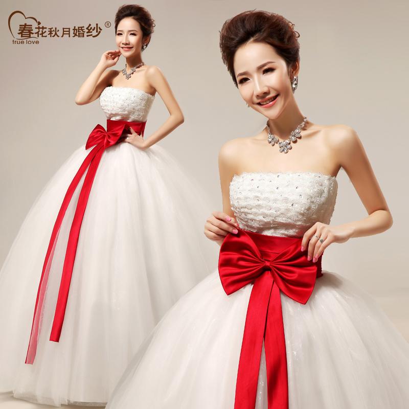 甜美蝴蝶结抹胸绑带齐地款新娘结婚婚纱礼服婚纱照新款2013 HS306
