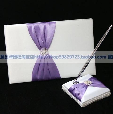 西式婚庆用品 婚礼签到本 笔 结婚签到簿 紫色蝴蝶结礼金簿 特价