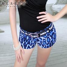 短裤女粉红大布娃娃夏装百搭新款蓝色豹纹潮流翻遍低腰短裤图片